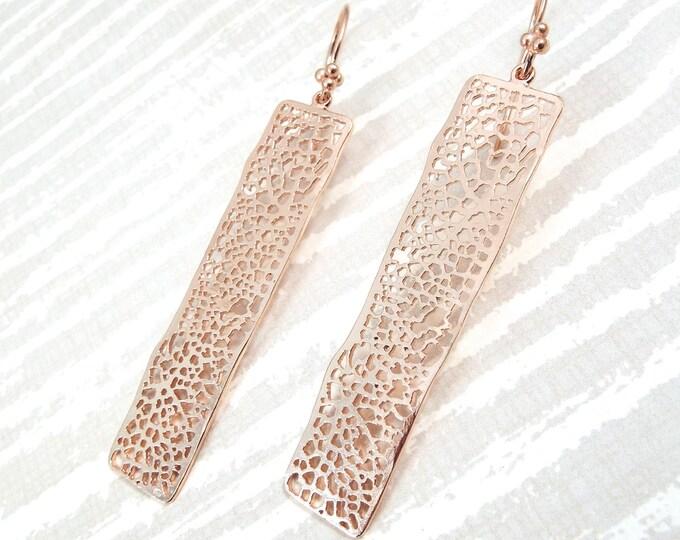 Modern Leaf Cells Rose Gold Earrings