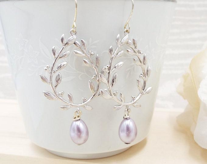 Lavender Silver Wedding Laurel Berry Wreath Earrings