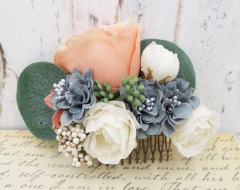 Silk Coral Peach Gray Ivory Rose Pearl Floral Hair Comb - Eucalyptus Spray Bridal Comb, Festival Wear Gift for Wife Mother Girlfriend
