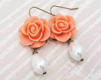 Coral Rose Pearl Flower Drop Dangle Earrings - Floral Wedding Jewelry - Gift for Bridesmaids Mother of Bride Wife Girlfriend Mom