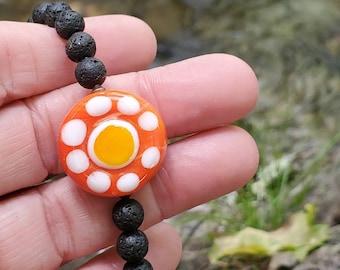 Orange Crush Diffuser Necklace || Genuine Copper Accents || Lava Rock Diffuser || Aromatherapy || FREE Essential Oil || Black Basalt Stone