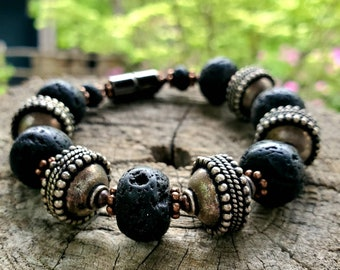 Chunky EO Diffuser Bracelet || Black Lava Rock and Silver|| Aromatherapy|| Genuine Copper Accents || FREE Essential Oil Sample || Yoga Reiki