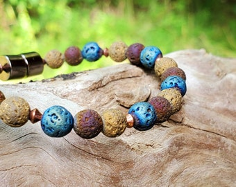 Blues EO Diffuser Bracelet || Muted Multi-color Lava || Aromatherapy Jewelry || Mosquito Repellent Bracelet || Magnetic Clasp || Free EO