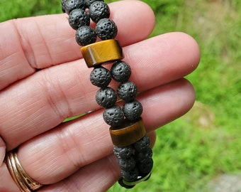Lava and Tigers Eye Essential Oil Two Strand Diffuser Bracelet || Black and Gold || Aromatherapy Jewelry || Mosquito Repellent || Free EO