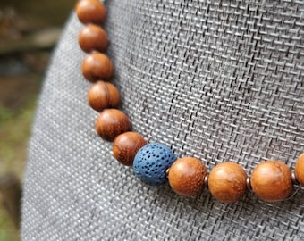 EO Diffuser Necklace|| Lava and Wood Rock || Aromatherapy|| Genuine Copper Accents|| Mosquito Repellent || Mood Support Diffuser Choker