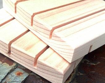 Natural Wood Soap Dish || Shower Soap Dish || Cedar or Pine Wood Spa Soap Dish || 50 pieces VERTICAL CUT  (no discount codes please)