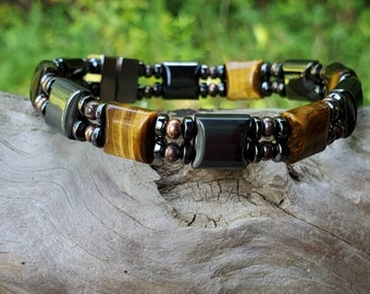 Unisex Gold TIGERS EYE Hematite Magnetic Therapy Bracelet/Anklet Genuine Copper Accents Dual Strand Custom Sized Unisex Bracelet Magnetic