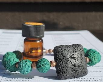 EO Geometric Diffuser Bracelet || Lava Rock || Aromatherapy|| Genuine Copper Accents || FREE Essential Oil || Yoga Reiki || Holistic Health