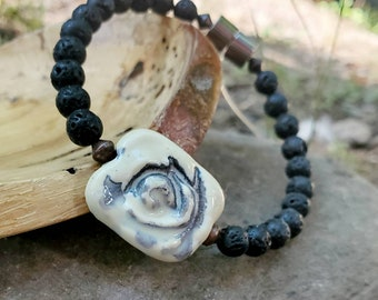 EO Diffuser Bracelet || Black Lava with Antiqued Copper || Aromatherapy Jewelry || Ceramic Focal Bead|| Mood Enhancing Bracelet || Free EO