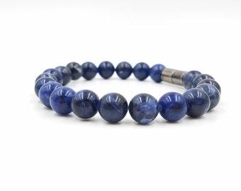 Peace & Harmony Genuine Sodalite Bracelet || SUPER Strong Magnetic Clasp || Prayers Hopes Dreams || Unisex || Blue Gemstones