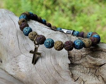 Cross EO Diffuser Bracelet || Muted Multi-color Lava || Aromatherapy Jewelry || Mosquito Repellent Bracelet || Magnetic Clasp || Free EO