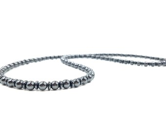 Sleek Black Necklace || 6mm Rounds and Rondelles ||Super Powerful Components|| Pain Relief || Extremely Strong Clasp