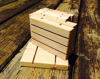 "30 Medium 3""x5"" Cedar Natural Wood Spa Soap Dish bulk order of thirty"