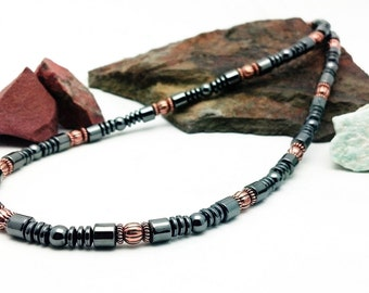 Magnetic and Copper Necklace men's women's Therapy Triple POWER Hematite Free Gift Card and organza Bag