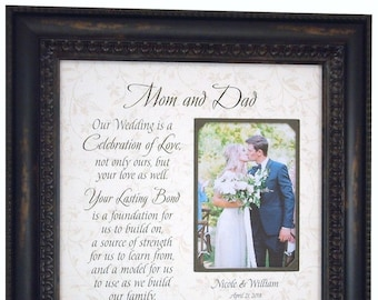 Bride Gift to Parents, Groom Wedding Gift to  Mom and Dad, Wedding Personalized Picture Frame, In-Laws WEDDING GIFT, PARENTS Gift, 16x16