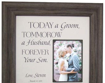 Mother Of The Groom Gift, Wedding Gift for Parents, Parents of the Groom Gift, Parents Wedding Gift, Today A Groom, 16x16 Overall 5x7 Photo
