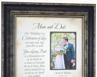 Wedding Gift for Parents, For Mother of the Bride, Photo Frame, Personalized Wedding Gift, Celebration of Love, wedding cake topper, 16 X 16