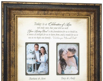 WEDDING GIFT, PARENTS Gift, Bride Gift to Parents, Groom Wedding Gift to Mom and Dad, Wedding Personalized Picture Frame, 16x16