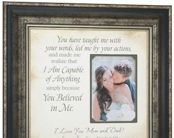 Burlap Wedding Gift for Parents, Parents Wedding Gift, wedding Gift for Parents, Parents of the Bride Gift, 16x16 overall with 5x7 Photo
