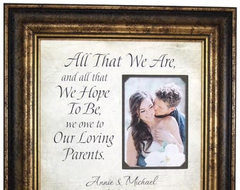 Parents Thank You, All That We Are, Father of the Bride Gift, Wedding Gift for Parents, Mother of the Bride Gift, 16x16 Overall 5x7 Photo
