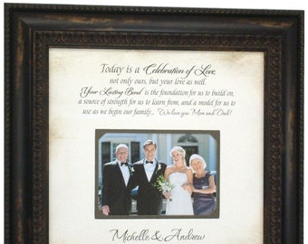 In-Laws WEDDING GIFT, Groom Wedding Gift to  Mom and Dad, Bride Gift to Parents, Wedding Personalized Picture Frame, PARENTS Gift, 16x16