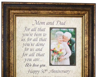 50th Anniversary Gifts, Parents Anniversary Gift, Anniversary Photo Frame, For All You Have Been, Anniversary Frame, 16x16