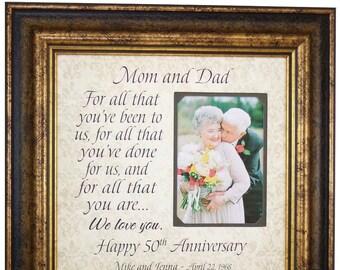 Anniversary Gift for Parents, Golden Anniversary Gift for 50th Anniversary, For All That You Have Been, Wedding Anniversary Gift, 16x16