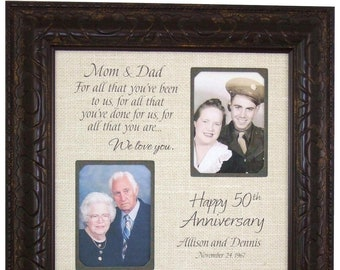 Then and Now Picture Frame, 50th Anniversary Gift, Gold Anniversary, Gifts for Parents, 25th Anniversary Party, Anniversary Frame, 16x16