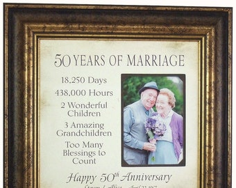 50th Anniversary Gift for Grandparents, 50 Years of Marriage Anniversary Gift, 50th Anniversary Gift for Parents, 16x16 Overall 5x7 Photo
