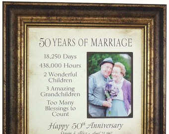 50th Anniversary, 50 Years Wedding Anniversary, Golden Anniversary Gift, Grandparents Anniversary Gift, 16x16 overall with 5x7 Photo