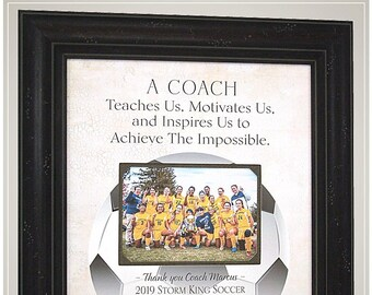 Soccer Coach Thank You Gift from Team for End of Season, Personalized Photo Frame Coaches Gifts from PhotoFrameOriginals,
