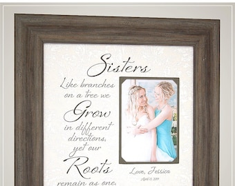 Personalized Sister Photo Mat Wedding Picture Frame, Sister Wedding Gift Maid of Honor Bridesmaid Thank You Gift, Sister Birthday Gift,