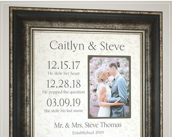 Personalized Picture Frame Wedding Gift for the Couple, Handmade Wedding Gifts from PhotoFrameOriginals Custom Photo Mats,