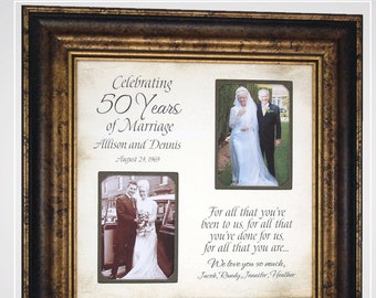 Anniversary Picture Frame, Grandparents 50th Golden Anniversary Gifts Then and Now, Wedding Anniversary Party Decorations,