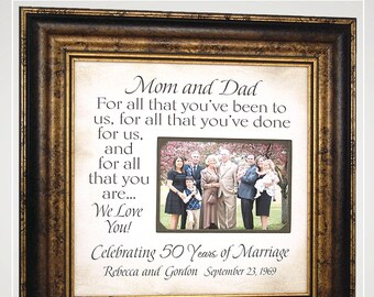 Anniversary Gifts for Parents 50th Golden 25th Silver Then and Now, Wedding Anniversary Party Decorations,