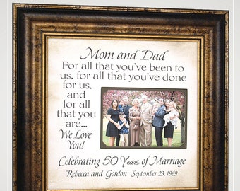 Parents Grandparents Anniversary Gift 25th 30th 40th 50th, Personalized Anniversary Photo Frame Gift,
