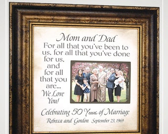 50th Anniversary Gifts Then and Now Picture Frame for Parents Anniversary Gift, Golden Anniversary Gift for Parents 50th Anniversary Party,