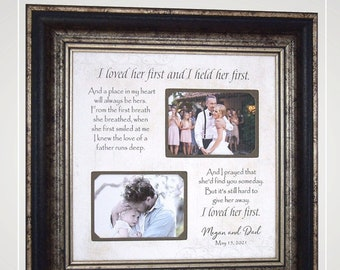 Personalized gift for dad from daughter, Custom Wedding Photo Frame Gift for Dad,