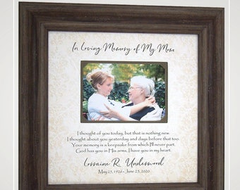 Personalized Picture Frame Wedding Anniversary Memorial In Memory of, Sympathy Gift Loss of Mom Husband Remembrance Memorial Gift Wife Dad,