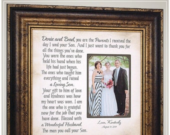 Wedding Photo Frames, Mother In Law Wedding Gift for Mother of the Groom, Personalized Wedding Picture Frame Gift for In Laws,
