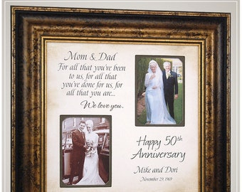 Then and Now Picture Frame for 50th Anniversary Gift, Gold Anniversary Gifts for parents, 25th Anniversary Frame gift for parents,