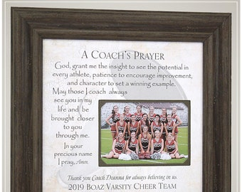 Cheer Coach Thank You Gift for End of Season Team Gift, Personalized Frame Cheerleader Coach Appreciation Gift, Coach's Prayer Gift,