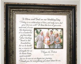 Personalized Wedding Frame. Family Gift, MOTHER of the BRIDE Gift, Groom Parents Gift,