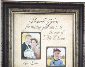 Father of the Groom, In Law, Mother of the Groom Gift, personalized wedding photo picture frame, THANK YOU For RAISING your son, 16x16