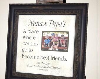 Grandparents Picture Frame, Mimi, Papa, Grandma Gift, Grandpa, Grandmother, Grandfather, Nana Gift, Cousins, 16x16