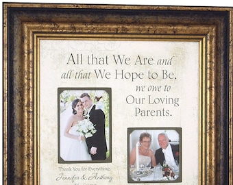 Burlap Wedding Frame For Parents, Father of The Bride, Mother of The Bride, 16x16