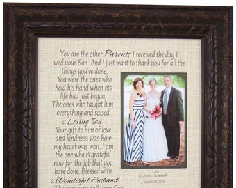 In-Laws Wedding Gift - Parents Gift - Bride Gift to Parents - Groom Wedding Gift Mom and Dad - Wedding Personalized Picture Frame - 16x16