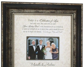 Wedding Personalized Picture Frame, PARENTS Gift, In-Laws WEDDING GIFT, Groom Wedding Gift to  Mom and Dad, Bride Gift to Parents, 16x16