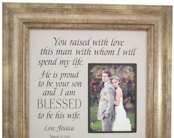 Mother In Law Gifts, Wedding Gift for in laws, Mother of the Groom Gift from Bride, in-laws, for mother-in-law, You Raised With Love, 16x16