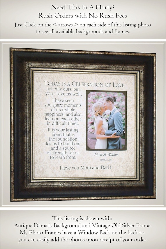 Personalized Wedding Frame for Parents of the Bride Parents | Etsy